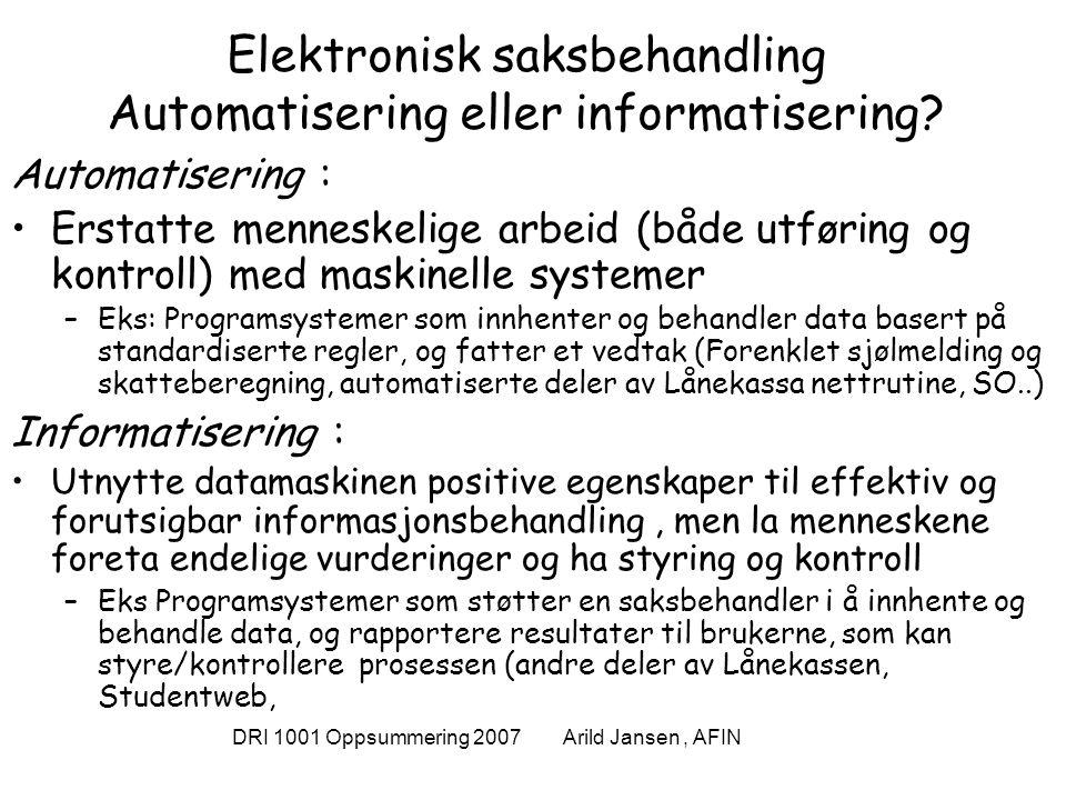 DRI 1001 Oppsummering 2007 Arild Jansen, AFIN Styring av teknologiutvikling og bruk Et forsøk på sammenstilling