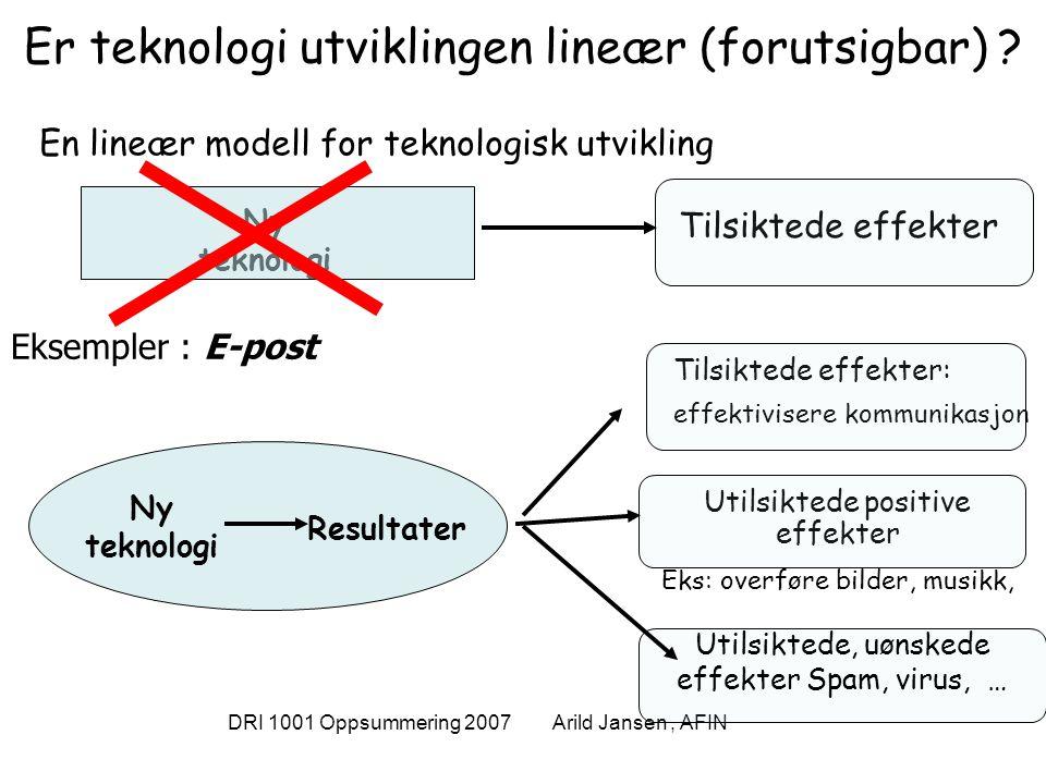 DRI 1001 Oppsummering 2007 Arild Jansen, AFIN Er teknologi utviklingen lineær (forutsigbar) ? En lineær modell for teknologisk utvikling Ny teknologi