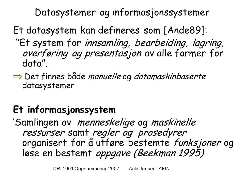 DRI 1001 Oppsummering 2007 Arild Jansen, AFIN Eksempel: StudentWeb' Informasjonssystem Datasystem = formaliserbar del StudentWeb Organisasjon Rammer for systemet Universitetet som organisasjon (ansatte, studenter, og arbeidsrutiner med mer) sammen med de lover, instrukser osv.