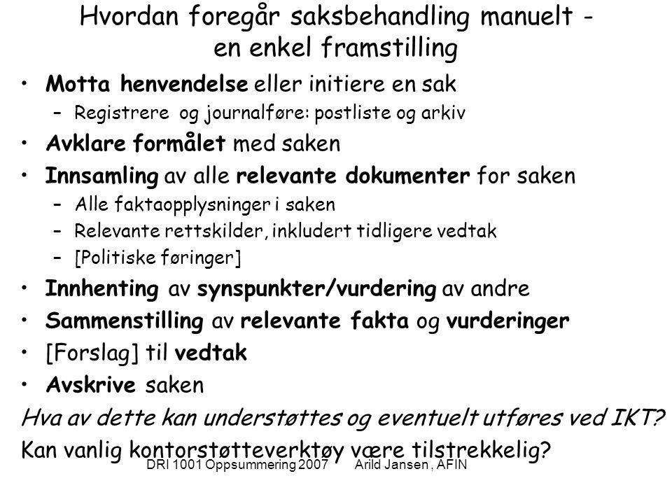 DRI 1001 Oppsummering 2007 Arild Jansen, AFIN Elektronisk saksbehandling system Skjematisk modell