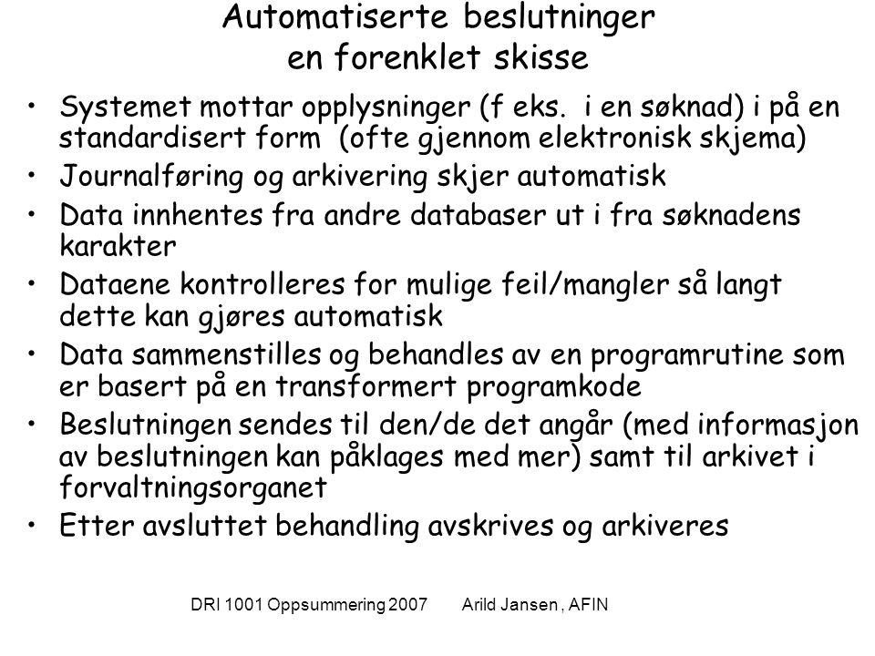 DRI 1001 Oppsummering 2007 Arild Jansen, AFIN Eksemplet lånekassen http://www.lanekassen.no/templates/SectionPage____5331.aspx WEB/ Front end Sentral database m/data fra lærestedene Skatte- direktoratets m/kontonur + fødselsnr LIS LKs bank- forbindelse Kundens bank- forbindelse Kontroll av opptak og betalt semester- avgift Søknad med kontonr Betalings- oppdrag 1 Kontroll av kontonr 2 3 7 8 KUNDE E-post om at vedtak er fattet og kan leses på WEB 4 5 Kunden leser vedtak og underskriver låneavtale og Gjeldsbrev 6 Sentral database m/data fra lærestedene Skatte- direktoratets m/kontonr + fødselsnr LKs bank- forbindelse Kundens bank- forbindelse Vedtak Søknad med kontonr 1 2 7 8