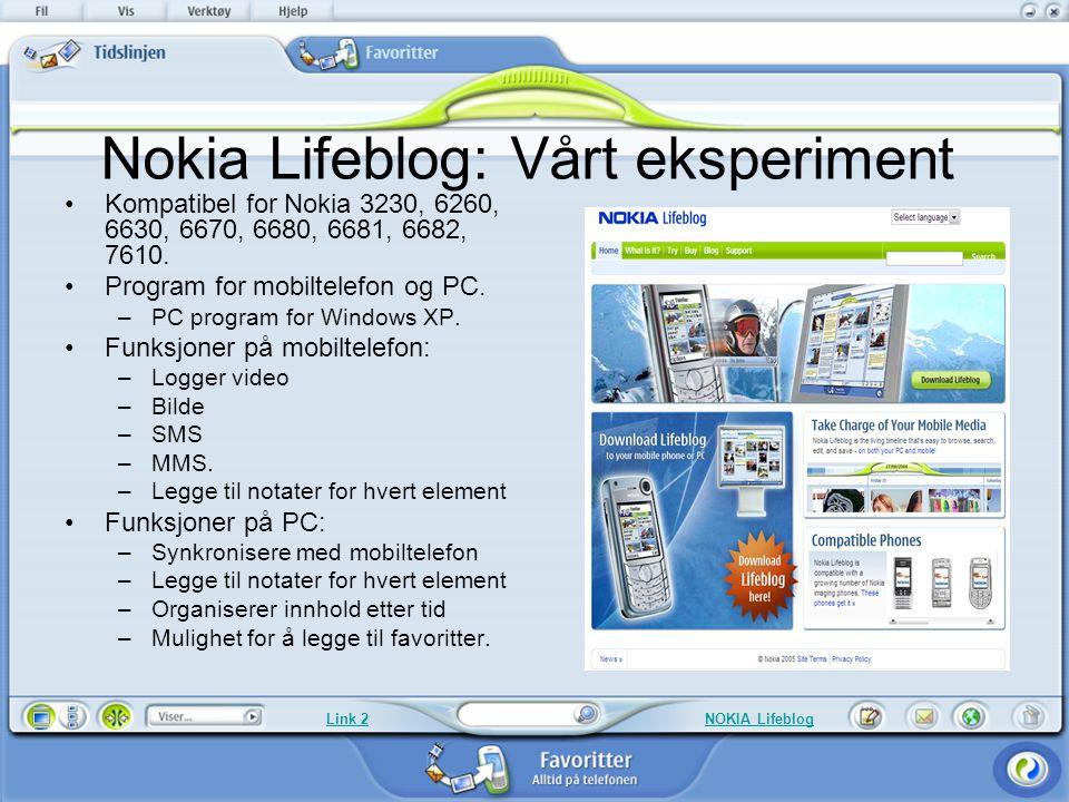 Nokia Lifeblog: Vårt eksperiment Kompatibel for Nokia 3230, 6260, 6630, 6670, 6680, 6681, 6682, 7610. Program for mobiltelefon og PC. –PC program for