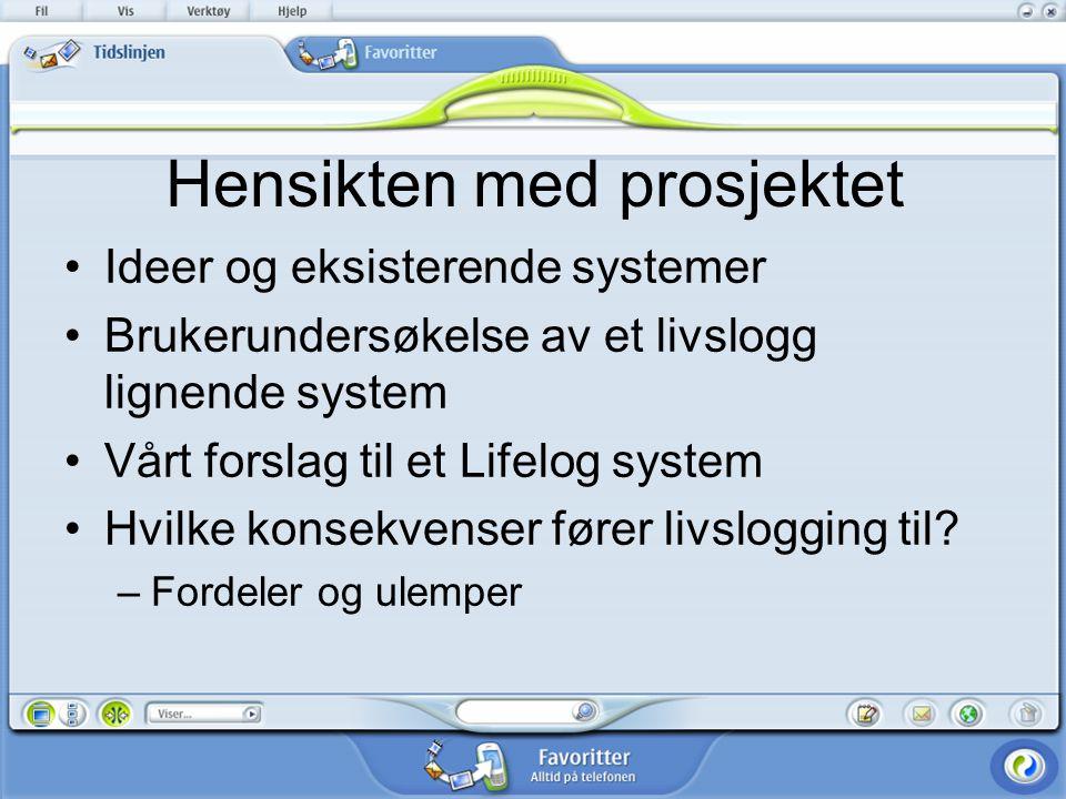 Hensikten med prosjektet Ideer og eksisterende systemer Brukerundersøkelse av et livslogg lignende system Vårt forslag til et Lifelog system Hvilke konsekvenser fører livslogging til.