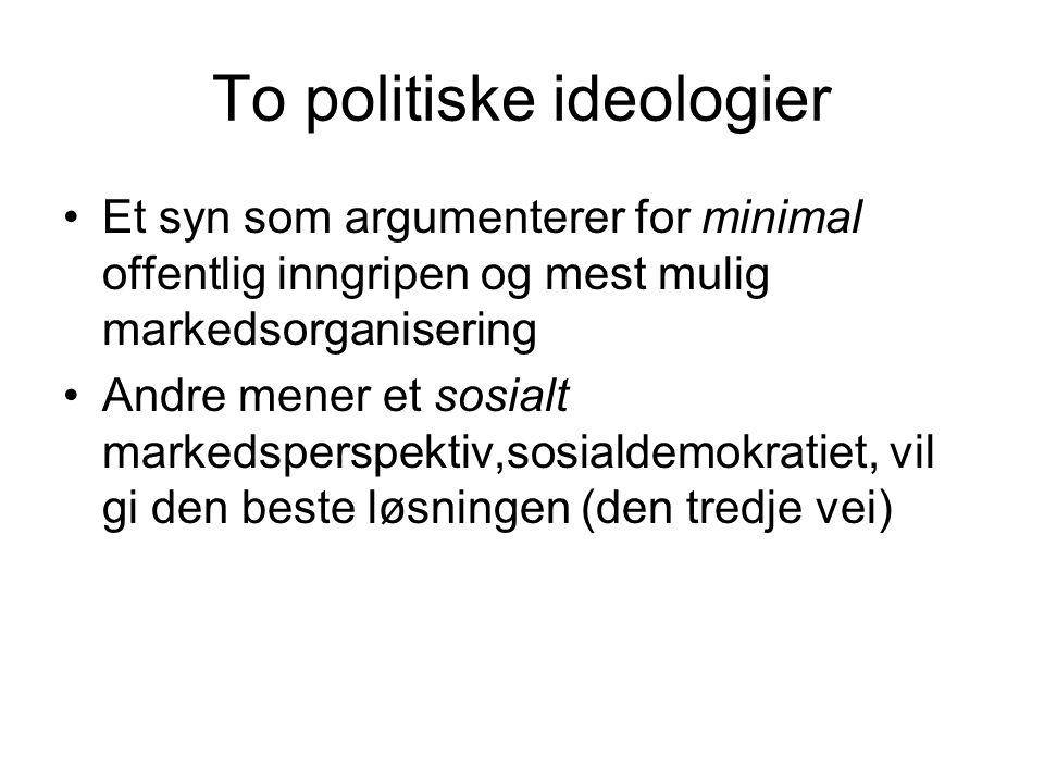 To politiske ideologier Et syn som argumenterer for minimal offentlig inngripen og mest mulig markedsorganisering Andre mener et sosialt markedsperspektiv,sosialdemokratiet, vil gi den beste løsningen (den tredje vei)