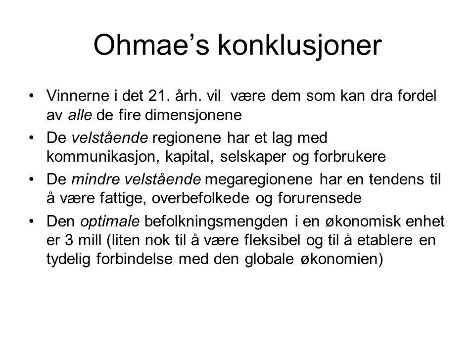 Ohmae's konklusjoner Vinnerne i det 21.årh.