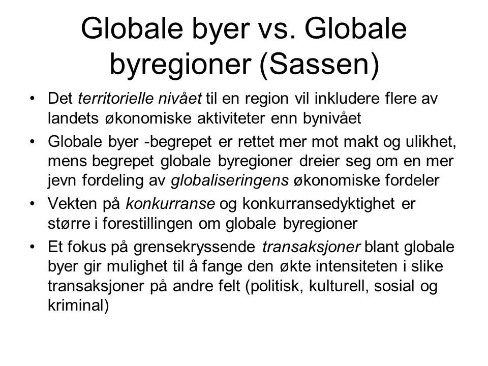 Globale byer vs.