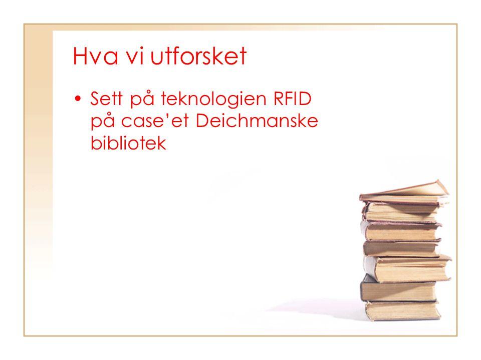 Hva vi utforsket Sett på teknologien RFID på case'et Deichmanske bibliotek
