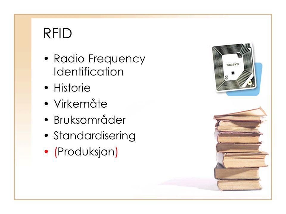 Radio Frequency Identification Historie Virkemåte Bruksområder Standardisering (Produksjon)