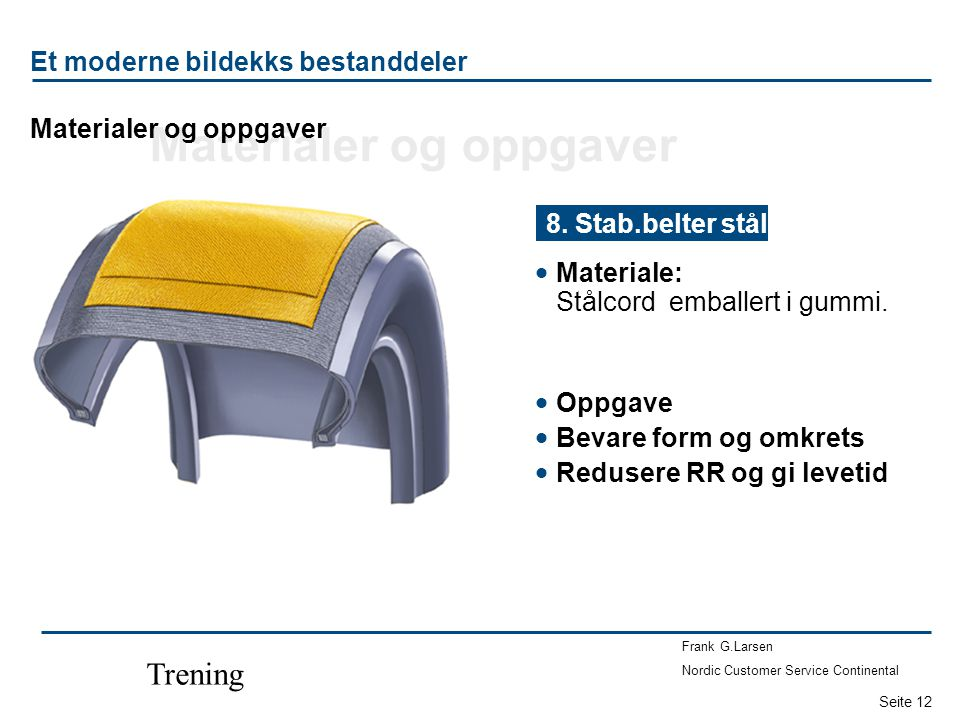 Seite 12 Frank G.Larsen Nordic Customer Service Continental Trening  Materiale: Stålcord emballert i gummi.
