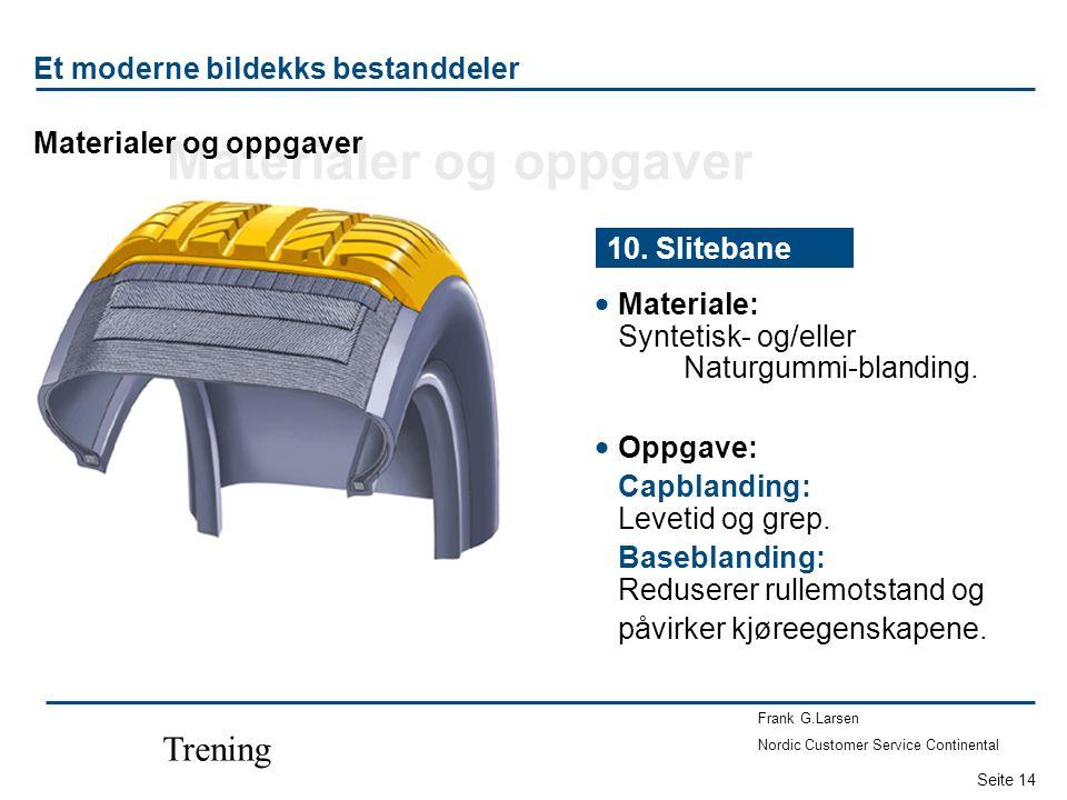 Seite 14 Frank G.Larsen Nordic Customer Service Continental Trening  Materiale: Syntetisk- og/eller Naturgummi-blanding. 10. Slitebane  Oppgave: Cap