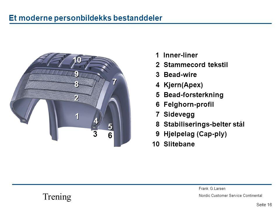 Seite 16 Frank G.Larsen Nordic Customer Service Continental Trening 11 Inner-liner 12 Stammecord tekstil 13 Bead-wire 14 Kjern(Apex) 15 Bead-forsterkn