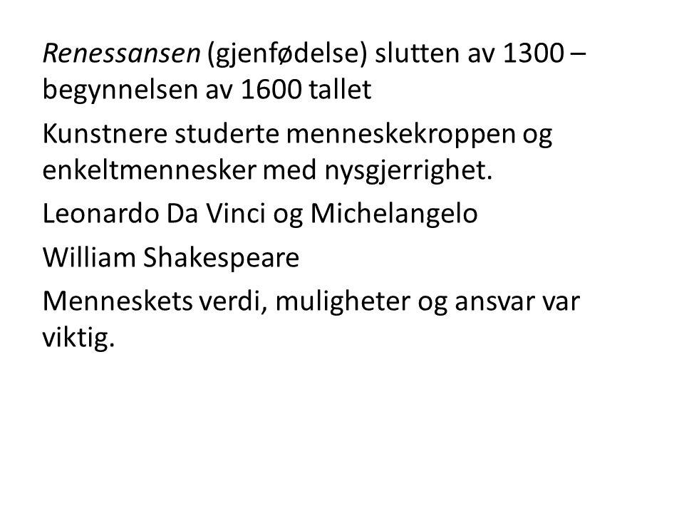 Opplysningstiden 1700- tallet.