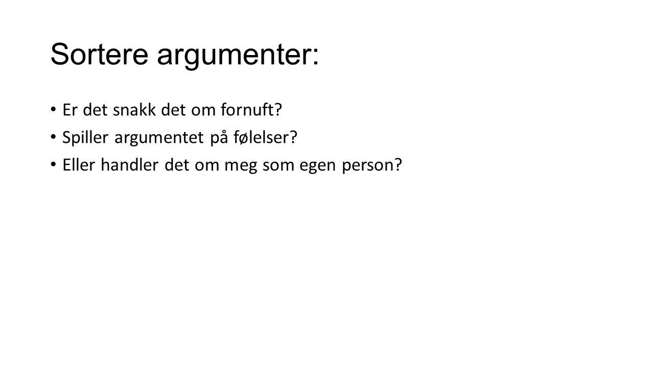Sortere argumenter: Er det snakk det om fornuft? Spiller argumentet på følelser? Eller handler det om meg som egen person?