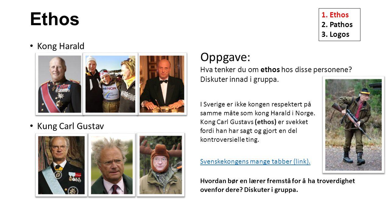 Ethos Kong Harald Kung Carl Gustav Oppgave: Hva tenker du om ethos hos disse personene? Diskuter innad i gruppa. I Sverige er ikke kongen respektert p