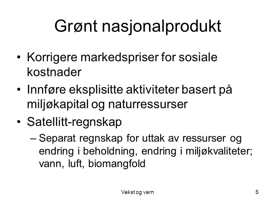 Vekst og vern5 Grønt nasjonalprodukt Korrigere markedspriser for sosiale kostnader Innføre eksplisitte aktiviteter basert på miljøkapital og naturress
