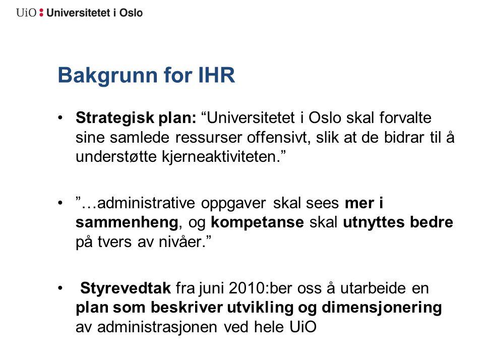 """Bakgrunn for IHR Strategisk plan: """"Universitetet i Oslo skal forvalte sine samlede ressurser offensivt, slik at de bidrar til å understøtte kjerneakti"""