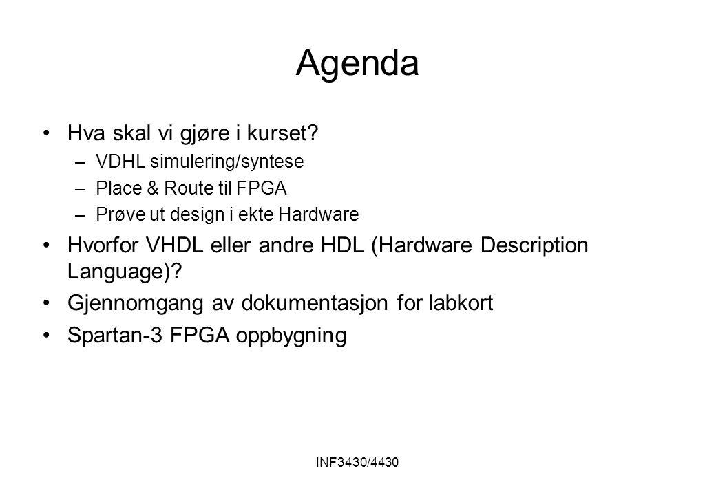 INF3430/4430 Agenda Hva skal vi gjøre i kurset.
