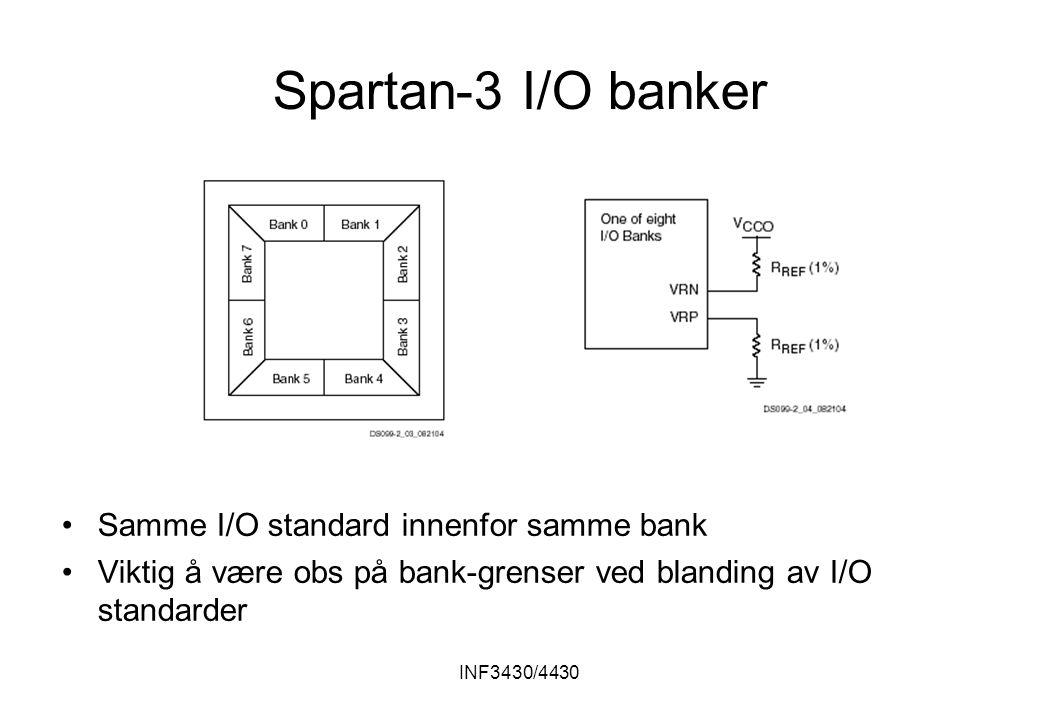 INF3430/4430 Spartan-3 I/O banker Samme I/O standard innenfor samme bank Viktig å være obs på bank-grenser ved blanding av I/O standarder