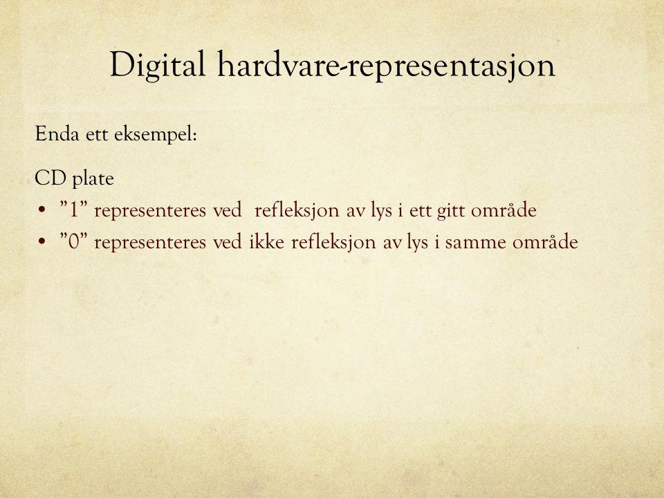 """Digital hardvare-representasjon Enda ett eksempel: CD plate """"1"""" representeres ved refleksjon av lys i ett gitt område """"0"""" representeres ved ikke refle"""