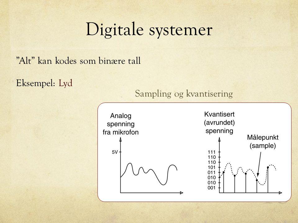 """Digitale systemer """"Alt"""" kan kodes som binære tall Eksempel: Lyd Sampling og kvantisering"""