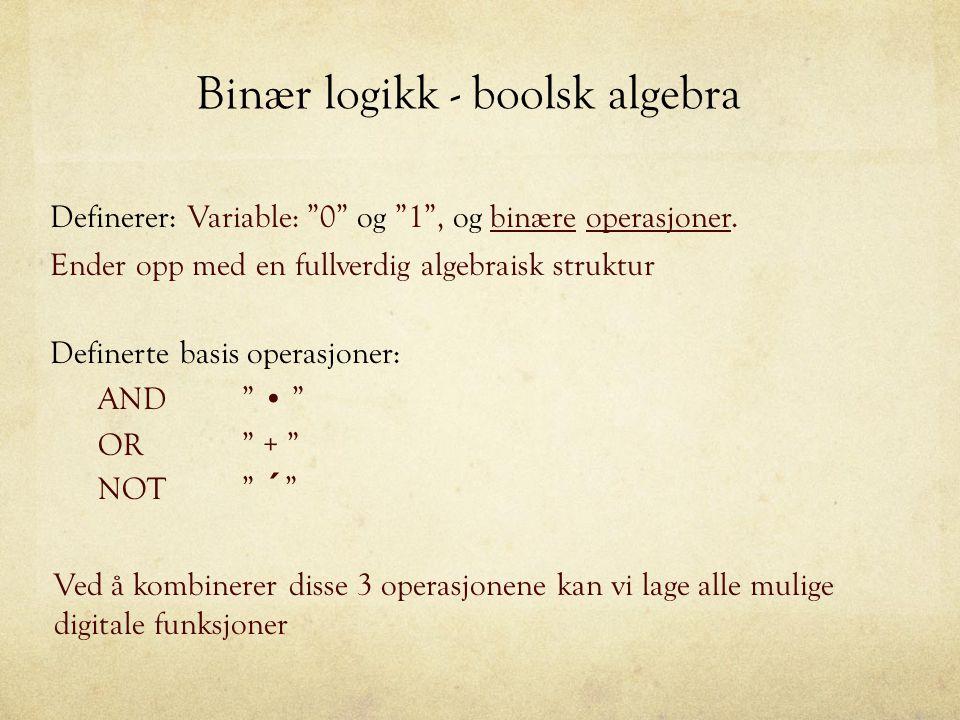 """Binær logikk - boolsk algebra Ender opp med en fullverdig algebraisk struktur Definerer: Variable: """"0"""" og """"1"""", og binære operasjoner. Definerte basis"""
