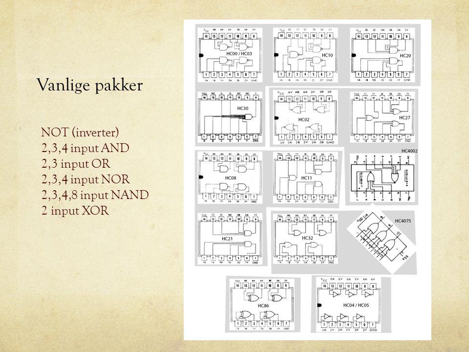 Vanlige pakker NOT (inverter) 2,3,4 input AND 2,3 input OR 2,3,4 input NOR 2,3,4,8 input NAND 2 input XOR