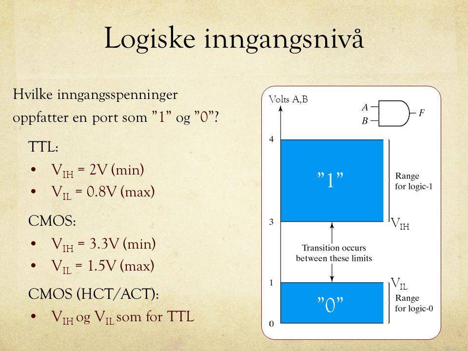 """Logiske inngangsnivå Hvilke inngangsspenninger oppfatter en port som """"1"""" og """"0""""? TTL: V IH = 2V (min) V IL = 0.8V (max) CMOS: V IH = 3.3V (min) V IL ="""