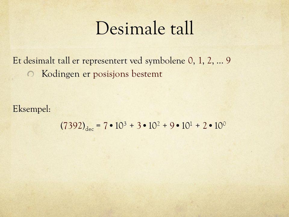 Desimale tall Et desimalt tall er representert ved symbolene 0, 1, 2,... 9 Kodingen er posisjons bestemt (7392) dec = 7 10 3 + 3 10 2 + 9 10 1 + 2 10