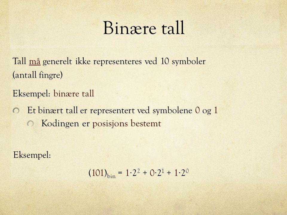 Digital representasjon Alt kan kodes som binære tall Eksempel: Bokstaver ASCII Table (7-bit) American Standard Code for Information Interchange Decimal Octal Hex Binary Value 061 075 03D 00111101 = 062 076 03E 00111110 > 063 077 03F 00111111 .