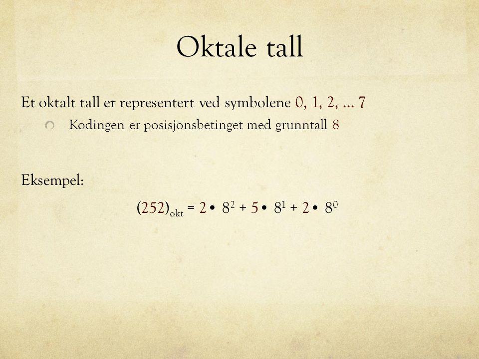 Oktale tall Et oktalt tall er representert ved symbolene 0, 1, 2,... 7 Kodingen er posisjonsbetinget med grunntall 8 (252) okt = 2 8 2 + 5 8 1 + 2 8 0