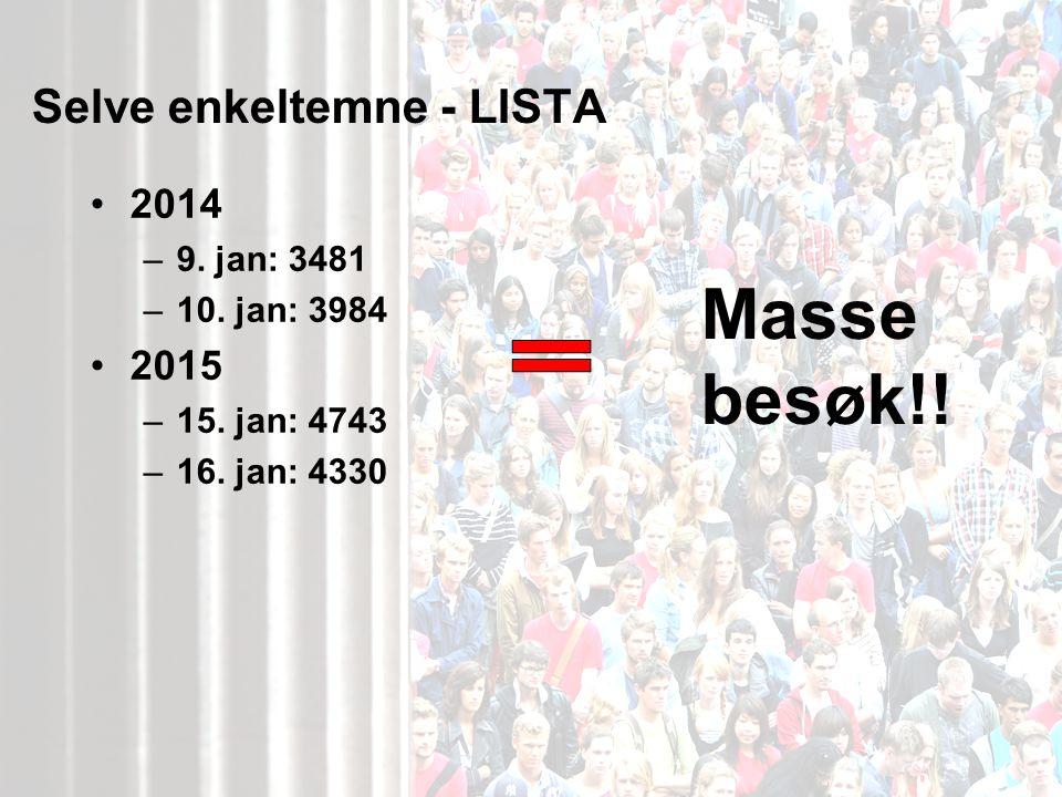 Selve enkeltemne - LISTA 2014 –9. jan: 3481 –10. jan: 3984 2015 –15.