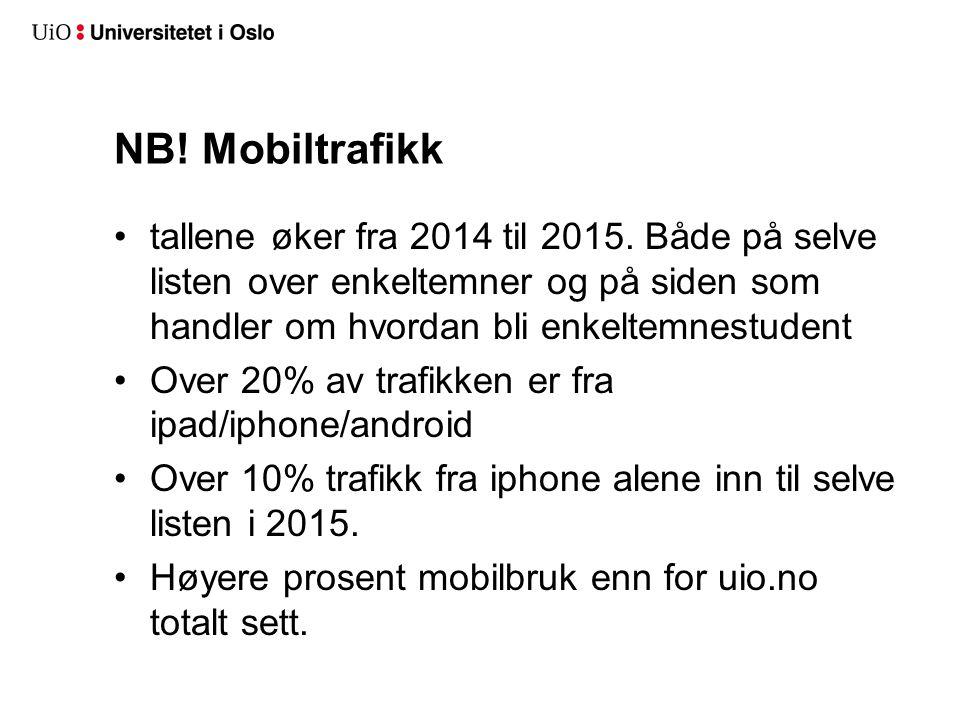 NB. Mobiltrafikk tallene øker fra 2014 til 2015.