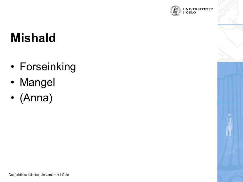 Det juridiske fakultet, Universitetet i Oslo Mishald Forseinking Mangel (Anna)