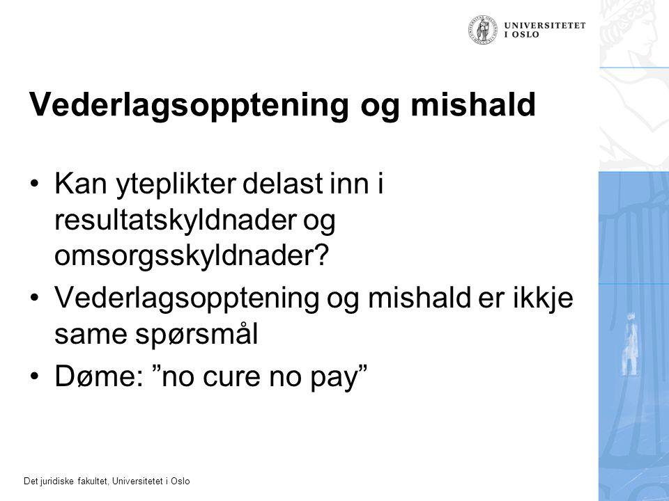 Det juridiske fakultet, Universitetet i Oslo Vederlagsopptening og mishald Kan yteplikter delast inn i resultatskyldnader og omsorgsskyldnader.