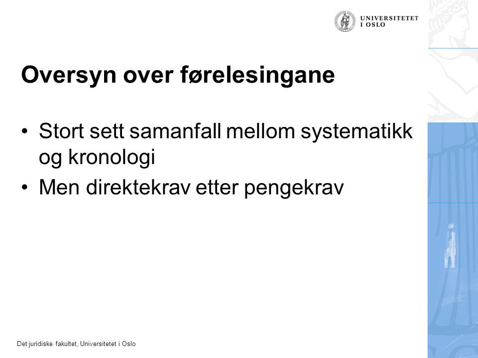 Det juridiske fakultet, Universitetet i Oslo Oversyn over førelesingane Stort sett samanfall mellom systematikk og kronologi Men direktekrav etter pengekrav