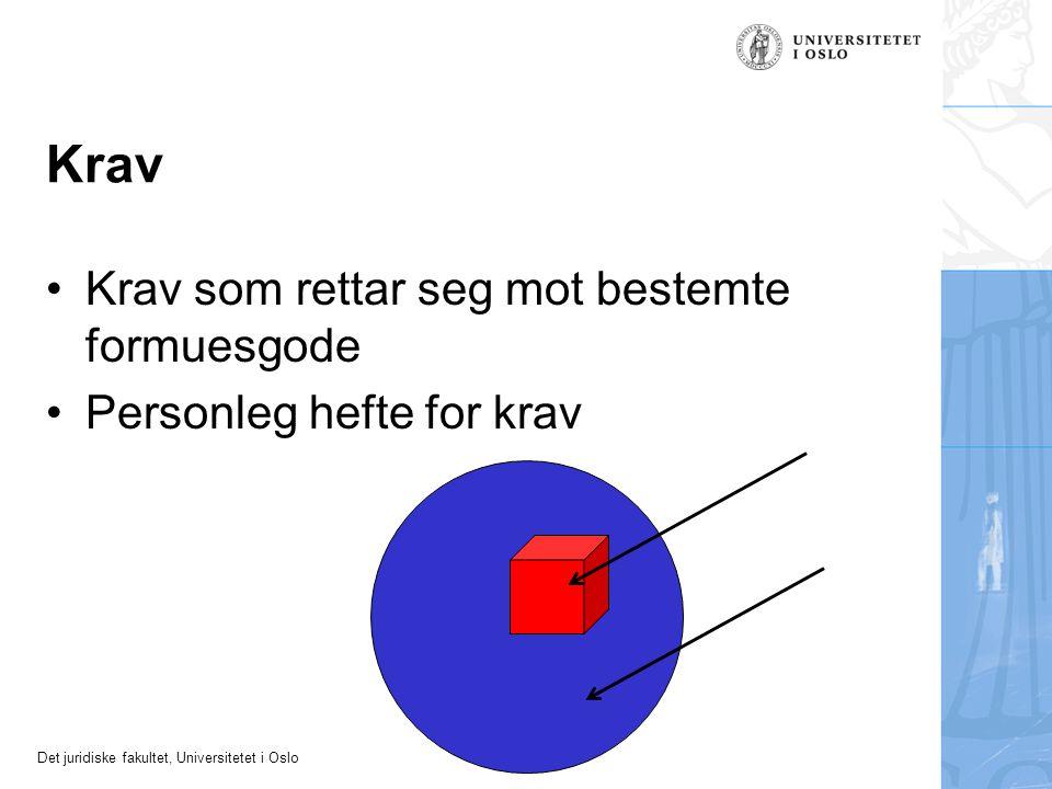 Det juridiske fakultet, Universitetet i Oslo Krav Krav som rettar seg mot bestemte formuesgode Personleg hefte for krav