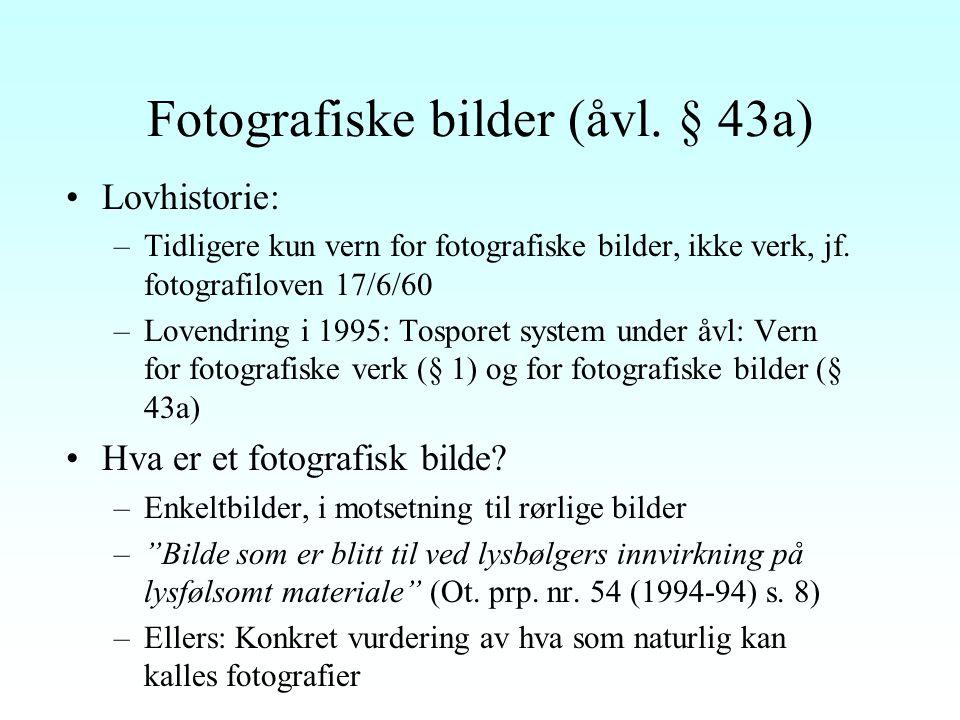 Nærstående rettigheter - oversikt Åvl. Kap.