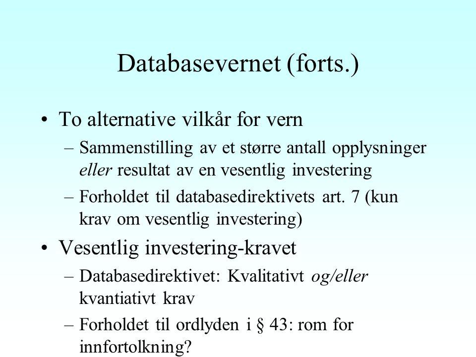 Databasevernet (forts.) To alternative vilkår for vern –Sammenstilling av et større antall opplysninger eller resultat av en vesentlig investering –Forholdet til databasedirektivets art.