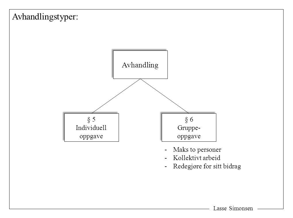 Lasse Simonsen Avhandlingstyper: Avhandling § 5 Individuell oppgave § 5 Individuell oppgave § 6 Gruppe- oppgave § 6 Gruppe- oppgave -Maks to personer