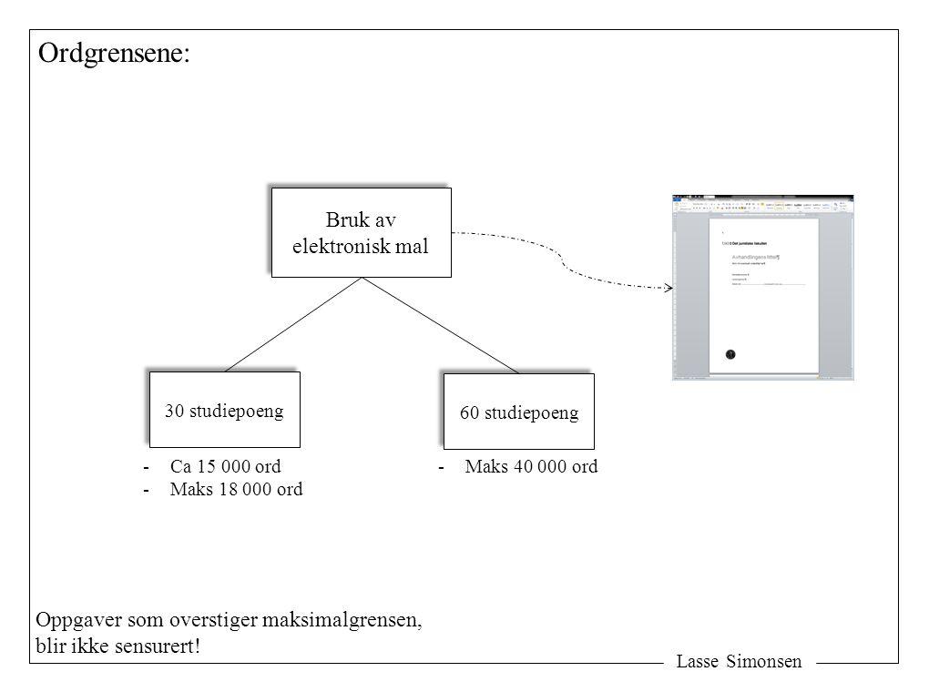 Lasse Simonsen Ordgrensene: Bruk av elektronisk mal Bruk av elektronisk mal 30 studiepoeng 60 studiepoeng -Ca 15 000 ord -Maks 18 000 ord -Maks 40 000 ord Oppgaver som overstiger maksimalgrensen, blir ikke sensurert!