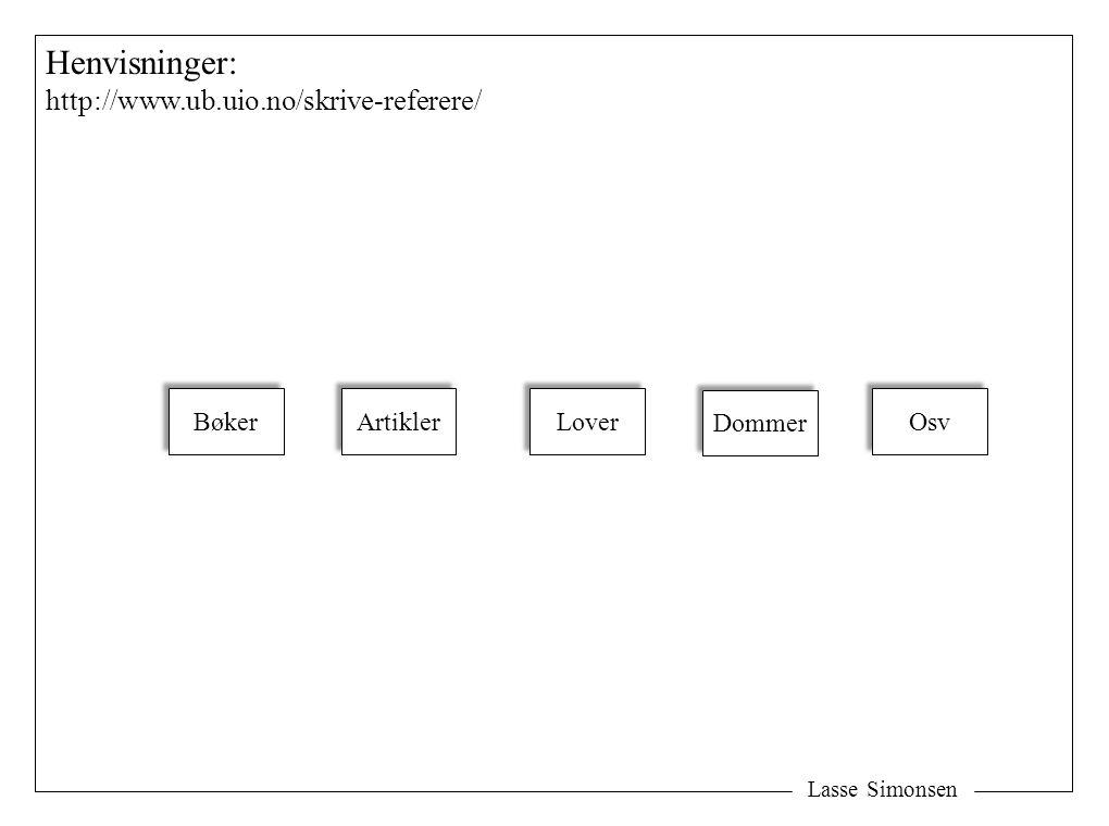 Lasse Simonsen Henvisninger: http://www.ub.uio.no/skrive-referere/ Bøker Artikler Lover Dommer Osv