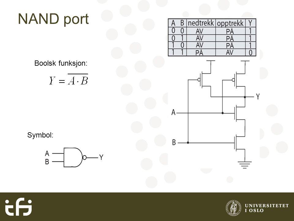 NAND port Boolsk funksjon: Symbol: