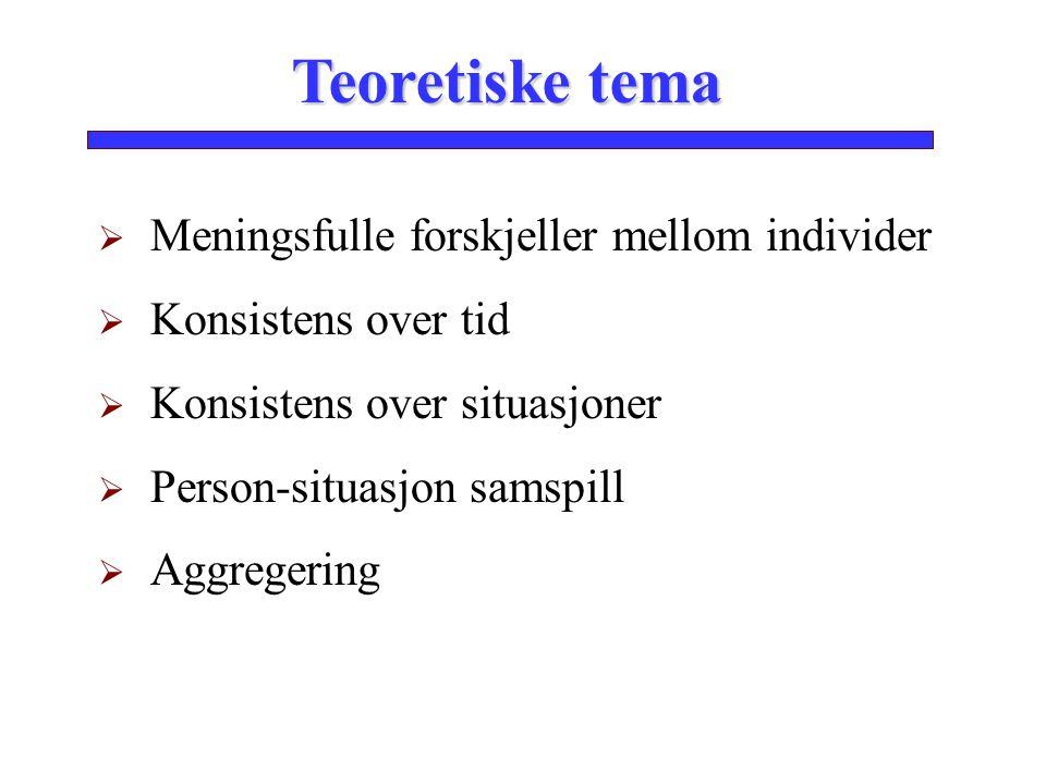 Teoretiske tema  Meningsfulle forskjeller mellom individer  Konsistens over tid  Konsistens over situasjoner  Person-situasjon samspill  Aggreger