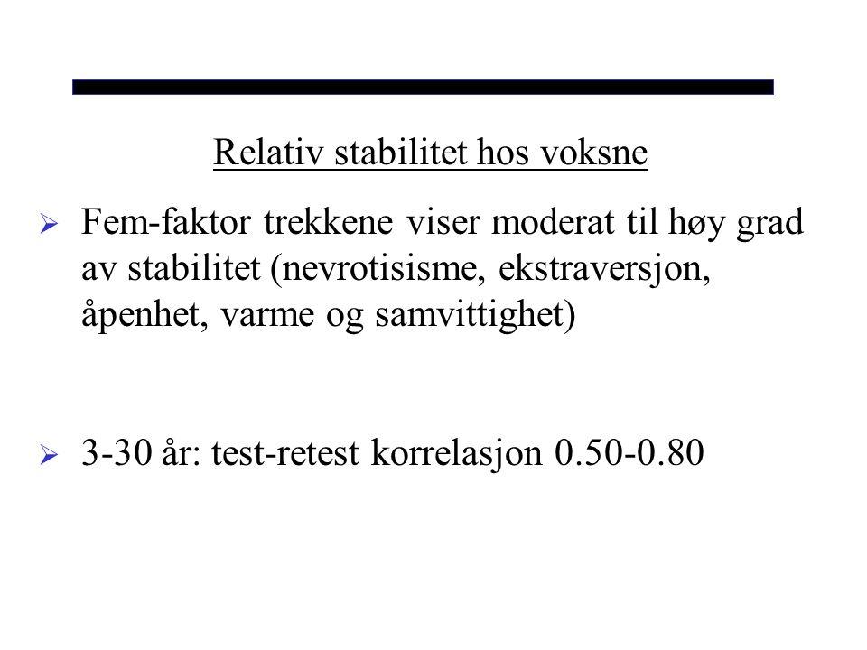 Relativ stabilitet hos voksne  Fem-faktor trekkene viser moderat til høy grad av stabilitet (nevrotisisme, ekstraversjon, åpenhet, varme og samvittighet)  3-30 år: test-retest korrelasjon 0.50-0.80