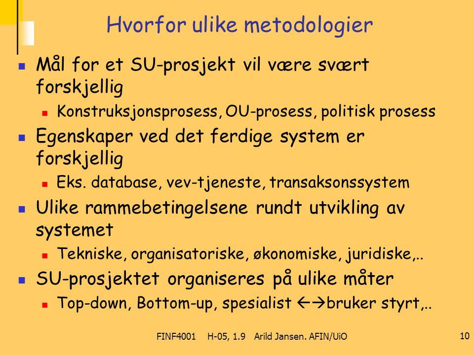 FINF4001 H-05, 1.9 Arild Jansen. AFIN/UiO 10 Hvorfor ulike metodologier Mål for et SU-prosjekt vil være svært forskjellig Konstruksjonsprosess, OU-pro
