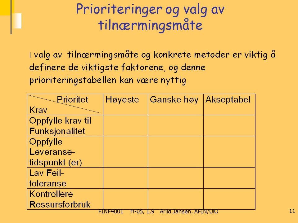 FINF4001 H-05, 1.9 Arild Jansen. AFIN/UiO 11 Prioriteringer og valg av tilnærmingsmåte