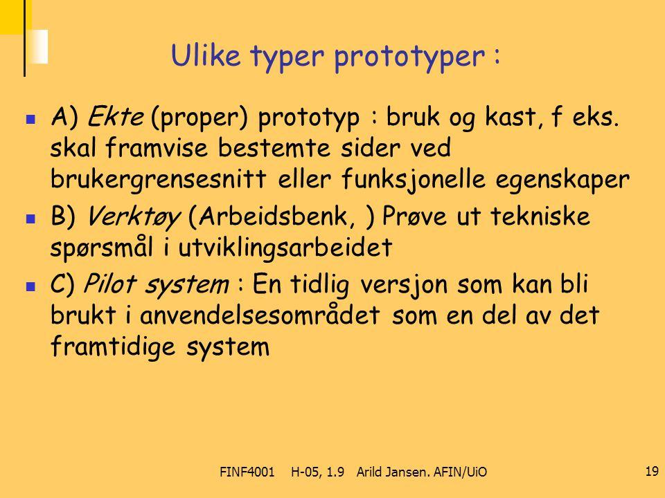 FINF4001 H-05, 1.9 Arild Jansen. AFIN/UiO 19 Ulike typer prototyper : A) Ekte (proper) prototyp : bruk og kast, f eks. skal framvise bestemte sider ve