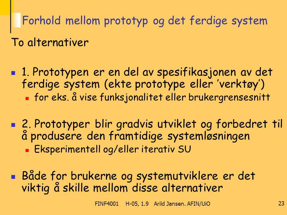 FINF4001 H-05, 1.9 Arild Jansen. AFIN/UiO 23 Forhold mellom prototyp og det ferdige system To alternativer 1. Prototypen er en del av spesifikasjonen