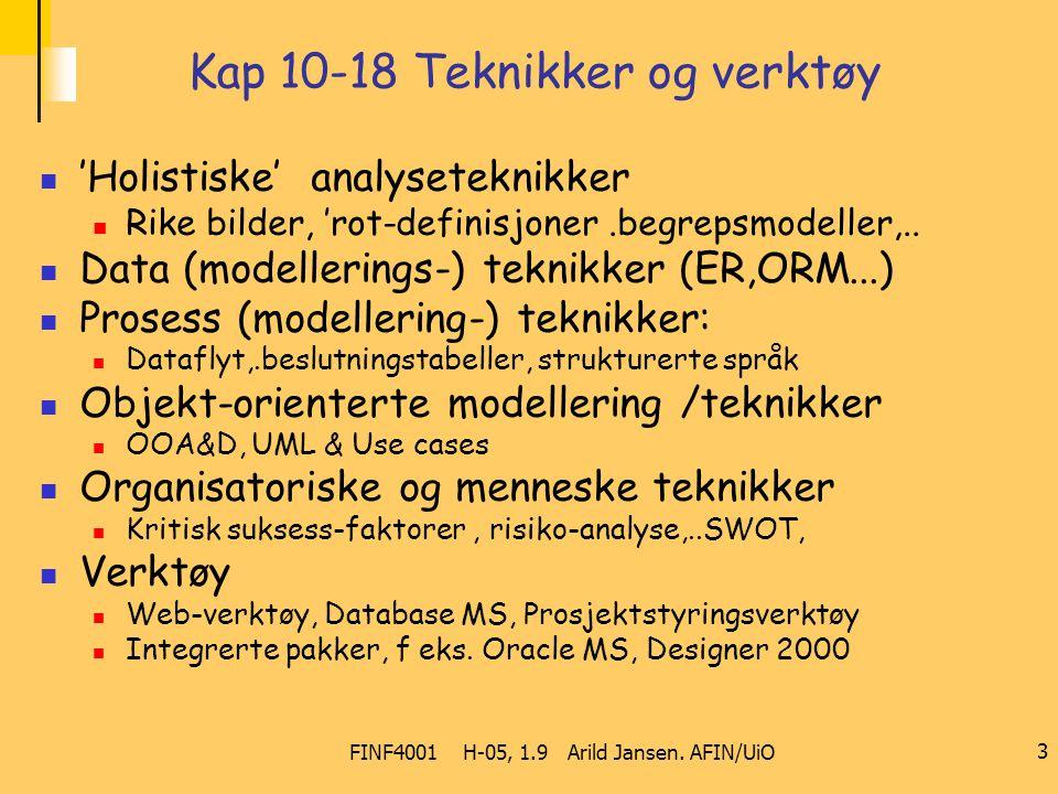 FINF4001 H-05, 1.9 Arild Jansen. AFIN/UiO 3 Kap 10-18 Teknikker og verktøy 'Holistiske' analyseteknikker Rike bilder, 'rot-definisjoner.begrepsmodelle