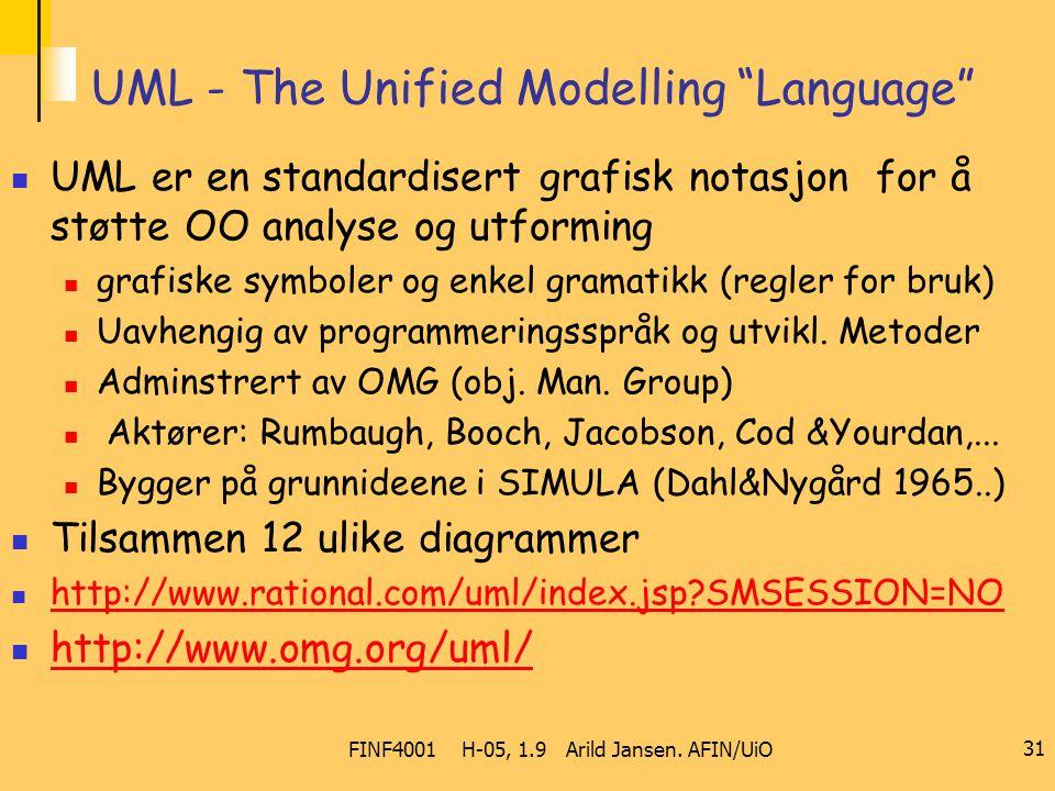 """FINF4001 H-05, 1.9 Arild Jansen. AFIN/UiO 31 UML - The Unified Modelling """"Language"""" UML er en standardisert grafisk notasjon for å støtte OO analyse o"""